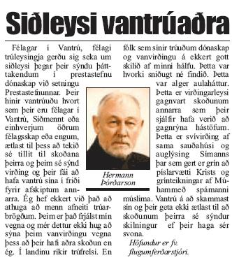Hermann Þórðarson: Siðleysi Vantrúaðra
