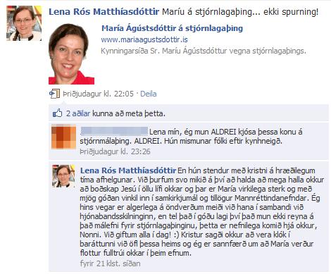 Skjáskot af Facebook síðu Lenu Rósar Matthíasdóttur