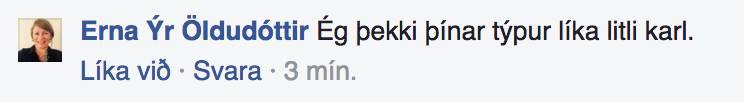 Erna Ýr Öldudóttir kallar mig lítinn karl title=